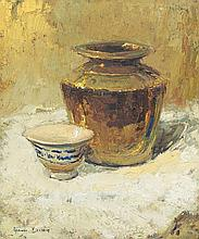 Adriaan Hendrik Boshoff, Still Life with a Brass Vessel and a Blue and White Bowl