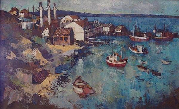George Enslin South African 1919-1972 Harbour,