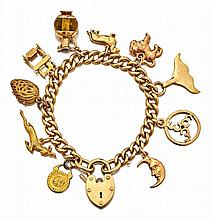 9ct gold charm bracelet  the 9ct gold chain an