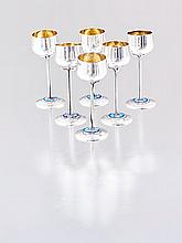 Six Edward VII silver and enamel liqueur cups, Map