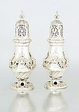 A pair of Edward VII silver casters, Lambert & Co,