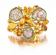Tourmaline and gold brooch, 1970s  modelled as