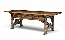 A fruitwood refectory table, 17th/18th century