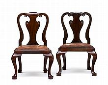 A pair of George II style mahogany side chairs
