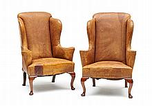 A pair of George II style brown leather and mahoga