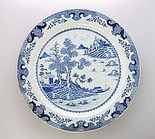 A Chinese blue and white charger, Qing Dynasty,