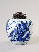 A Chinese blue and white jar, Qing Dynasty, late
