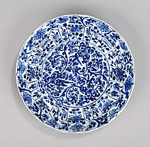 A Chinese blue and white dish, Qing Dynasty,