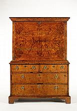 A George I walnut secretaire cabinet-on-chest,