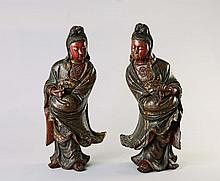 A pair of Chinese lacquered wood figures of