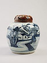 A Chinese blue and white Nanking jar, Qing