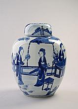 A Chinese blue and white jar and cover, Qing