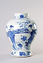 A Chinese blue and white vase, Qing Dynasty, late