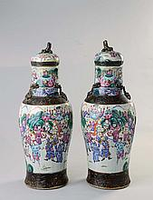 A pair of Chinese craquelure and bronze-glazed