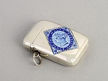 A Victorian silver and enamel vesta case,