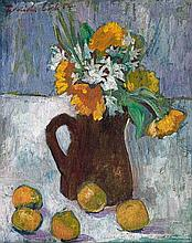 Freida Lock, Still Life with Spring Flowers and Fruit