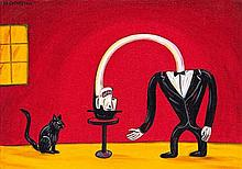 Norman Clive Catherine, Figure and Black Cat