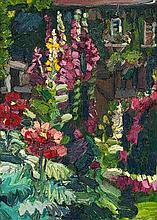 George Rowlett, Opium Poppies, Foxgloves, Sparrows Feeding in the Background