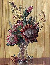 Willem Hermanus Coetzer, Still Life with Proteas and Fynbos