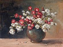 Otto Klar, Still Life with Flowers in a Brown Vase
