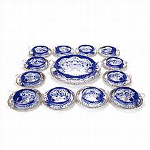 DESSERT SET IN BLUE BOHEMIAN GLASS WHIT SILVER DISHES
