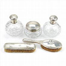 FIVE PIECES OF TOILET SET IN BOHEMIAN GLASS AND SILVER