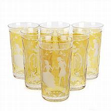 SIX GLASSES IN AMBER BOHEMIAN GLASS