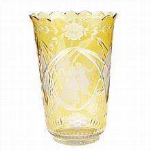 VASE IN AMBER BOHEMIAN GLASS