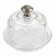 CHEESE DISH IN BOHEMIA GLASS AND SILVER