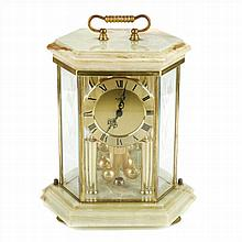KUNDO TABLE CLOCK IN BRASS AND GREEN ONYX
