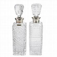 TWO LIQUOR BOTTLES IN BOHEMIAN CUT GLASS AND SILVER