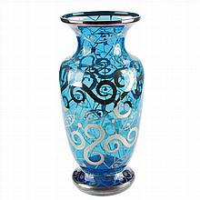 VASE IN BOHEMIAN GLASS.FINE SILVER DECORATED