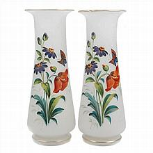 TWO ISABELINS VASES IN DECORATED OPALINE