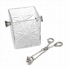 ICE BUCKET IN BOHEMIAN GLASS WHIT A PAIR OF TONGS IN SILVER