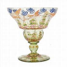 CIRERA.VASE IN ENAMELED GLASS. SIGNED IN THE BASE.