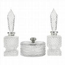 TWO TOILET BOTTLES AND A BOX IN CUT BOHEMIAN GLASS AND SILVER