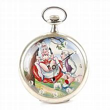 POCKET CLOCK WHIT EROTIC SCENE
