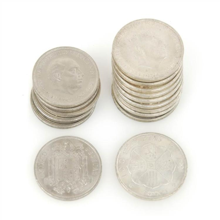 10 SILVER SPANISH COINS