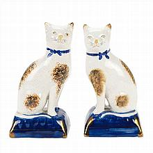 COUPLE OF CATS IN STAFFORDSHIRE POTTERY