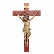 CHRIST CRUCIFIED IN CARVED AND POLYCHROME WOOD.CIRCA 1900