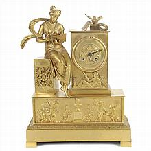 TABLE CLOCK IN GOLDEN BRONZE.XIX CENTURY.
