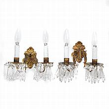 PAIR OF WALL LAMPS IN GOLDEN METAL AND GLASS