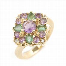 GOLD RING WITH EMERALDS, AMETHYST AND DIAMONDS