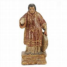 SAINT IN POLYCHROME AND CARVED WOOD.XVIII CENTURY