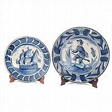 TWO DISHES IN CATALAN POTTERY.XIX CENTURY.