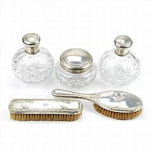 DRESSING SET FIVE PIECES IN BOHEMIAN GLASS AND SILVER