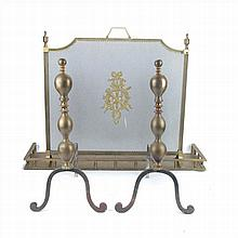 FIREDOG AND FIRE SCREEN IN GOLDEN METAL