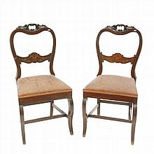 PAIR OF CHAIRS IN CARVED WOOD,MARQUETRY AND UPHOLSTERY SEATS.CIRCA 1850.
