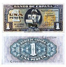 Billete de 1 peseta. Banco de España, año 1946. Enmarcado. Med.: 16x22,5 cm.