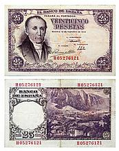 Billete de 25 pesetas. Banco de España, año 1946. Enmarcado. Med.: 18x21 cm.